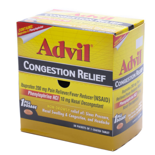 Advil Congestion Relief Tablets 50 Packets of 1 Tablet