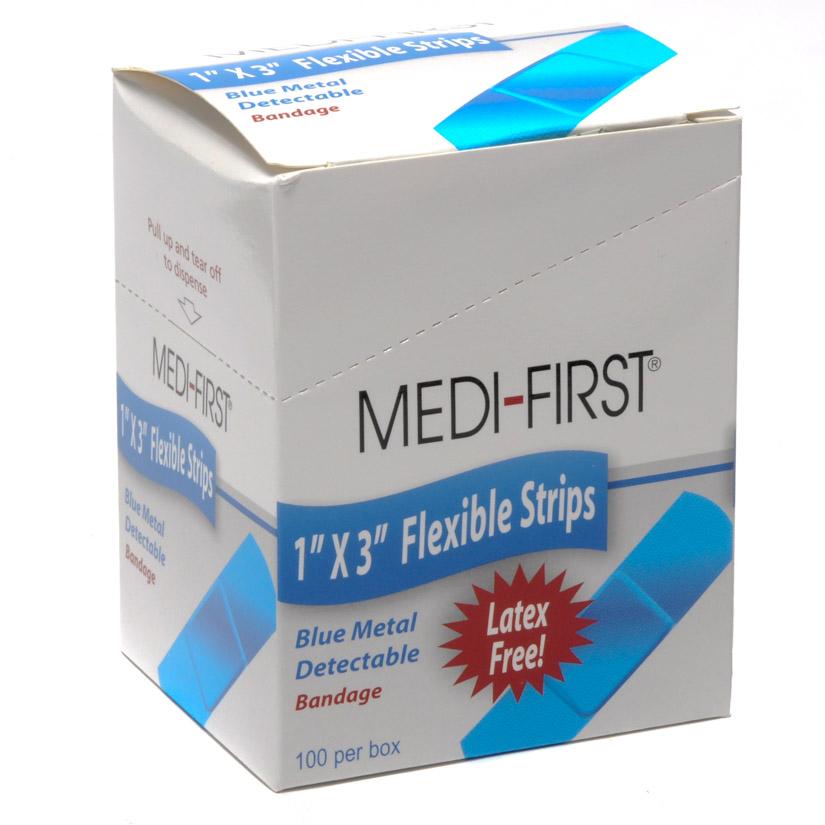 Medique Blue Metal Detectable Woven Bandages 1x3 100/box