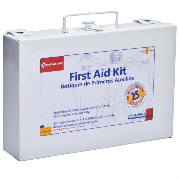 FAO #224-u Shop Office First Aid Kit 25 Person Metal Kit