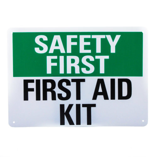First Aid Safety Sign Plastic 10'' 14''