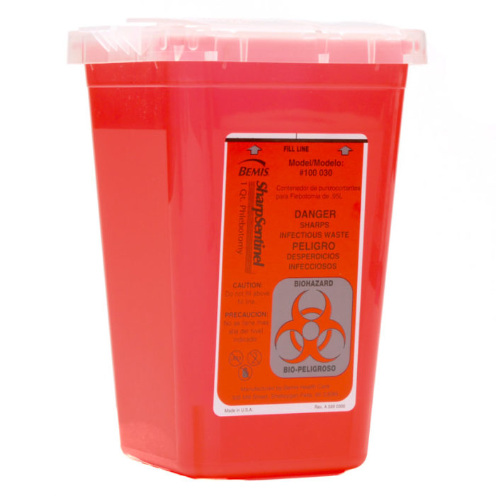 Bemis Biohazard Sharps Container 1 Quart