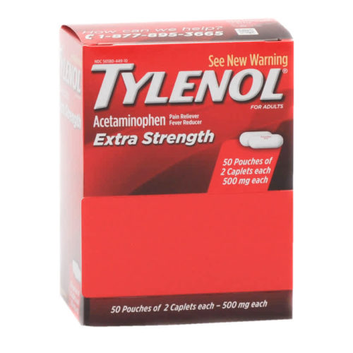Tylenol Extra Strength Pain Relief Caplets Industrial Packets 50x2